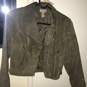 Olive green h&m suede jacket.